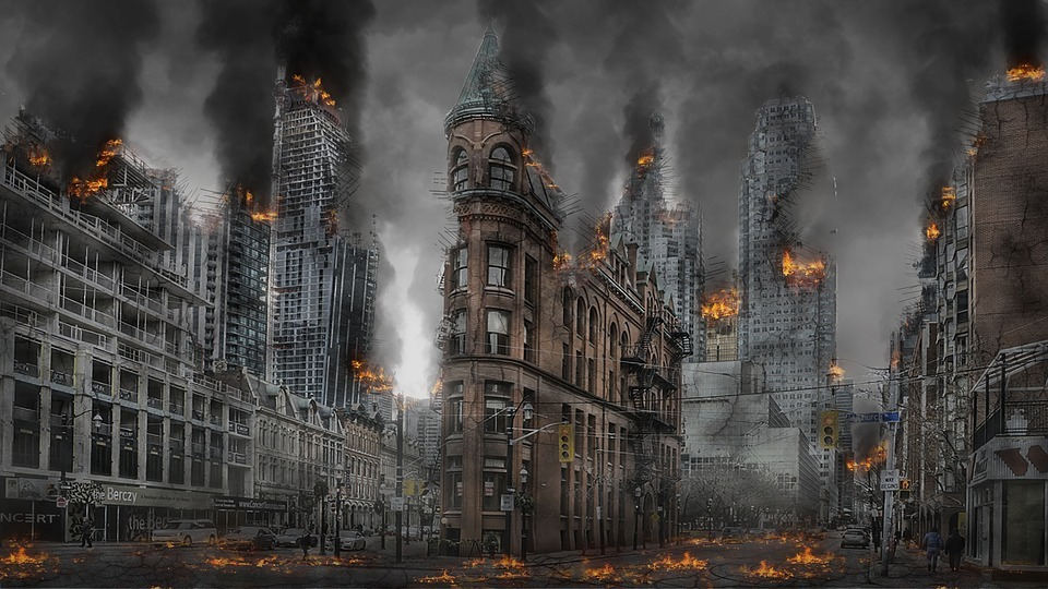 abandoned street, buildings on fire, the street on fire, destroyed buildings